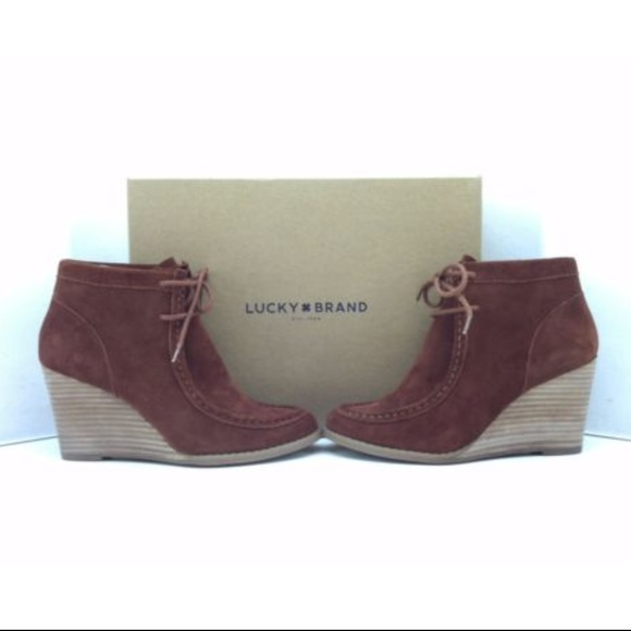 df23195a074 Lucky Brand Shoes - Lucky Brand Ysabel Russet Suede Wedge Boots NEW